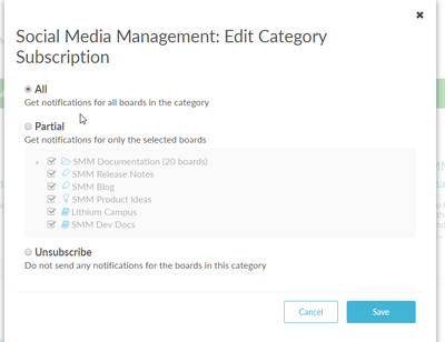 Edit your category subscriptions settings