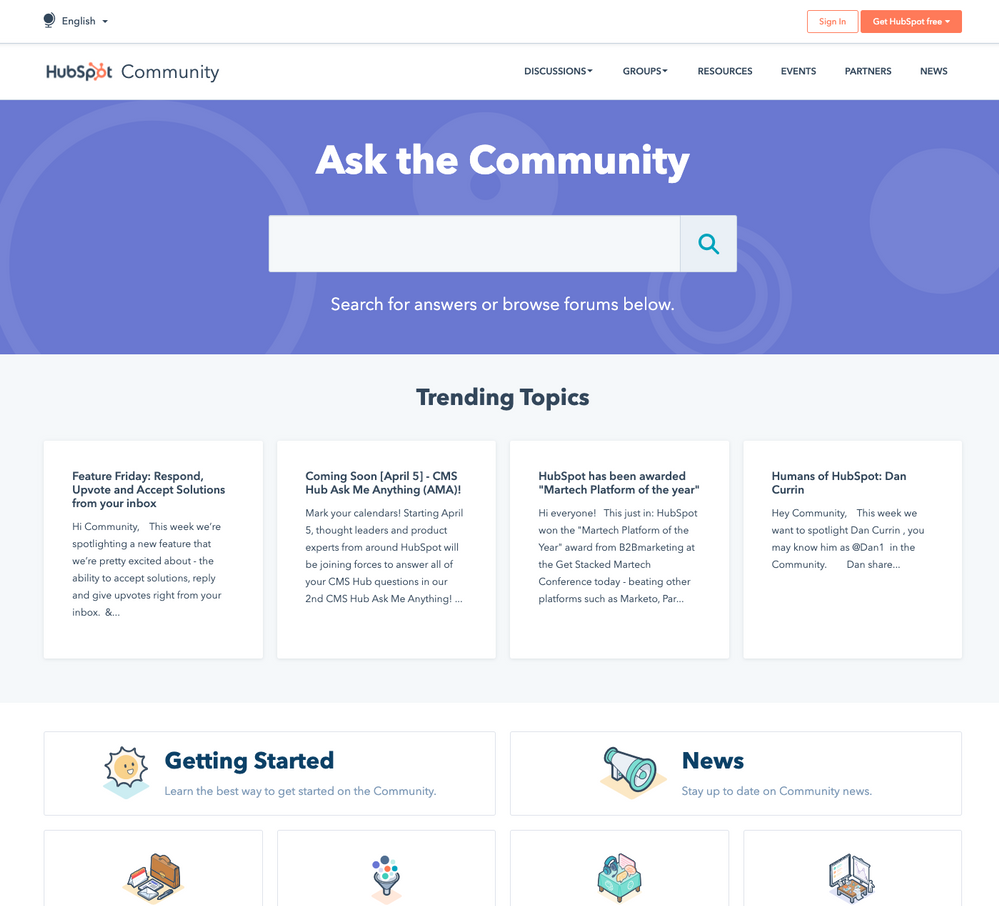 Hubspot Community Home Page